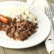 french onion pot roast in the slow cooker