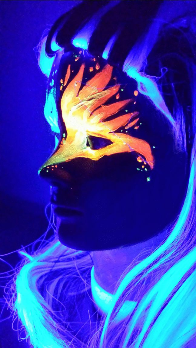 More Black Light (UV) makeup using Kryolan and Wolfe paint