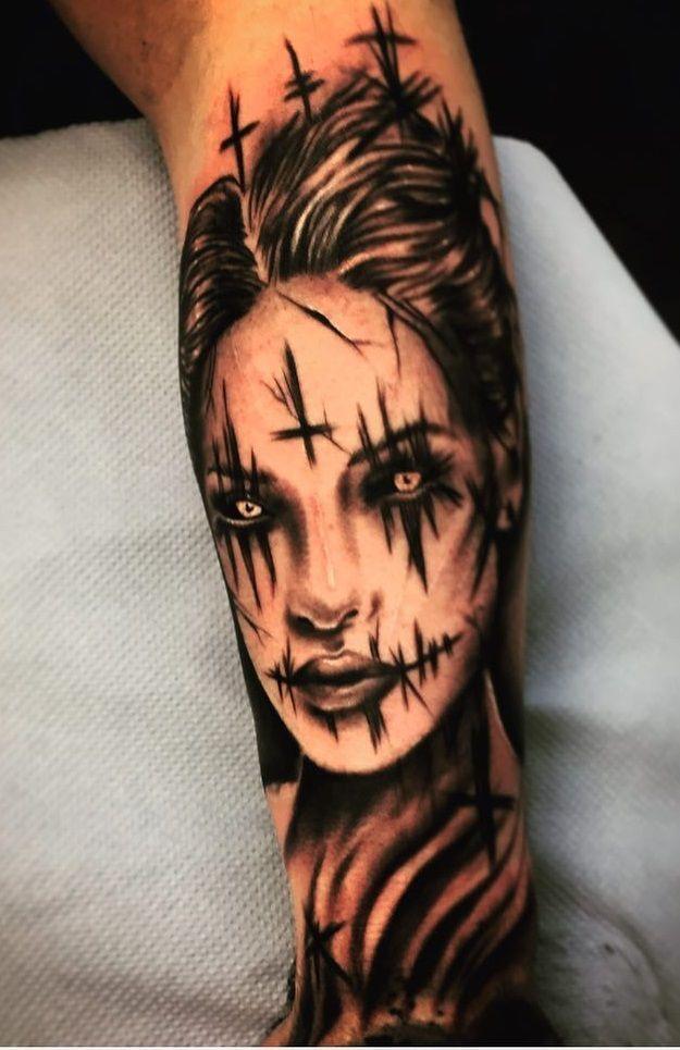 393335d14f434 Demon girl tattoo. Pic by shaks_tattoo #halloween #halloweentattoo  #creepytattoo #scarytattoo #tattoo #tattoodesign #tattooidea #demon