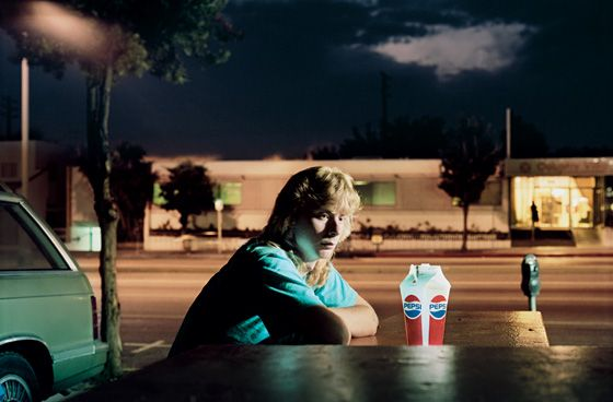 Philip-Lorca diCorcia, Brent Booth, '21 years old, Des Moines, Iowa $30', 1990-92- retro feel-potential mix with futuristic technology/innovation?