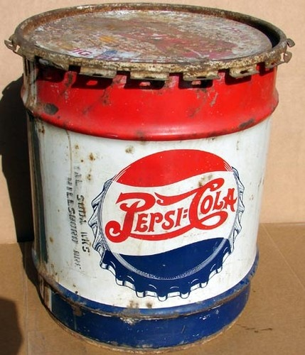 VINTAGE 1947 PEPSI-COLA MINI SYRUP BARREL: Cocacolatrays Cocacolaglass, Porcelainsigns Cocacolacups, Syrup, Cocacola Cocacolasigns, Vintage, Barrel Drum Can 10 Gal, Pepsi, Art Deco Patina, Cocacolawebsite Cocacolafridge