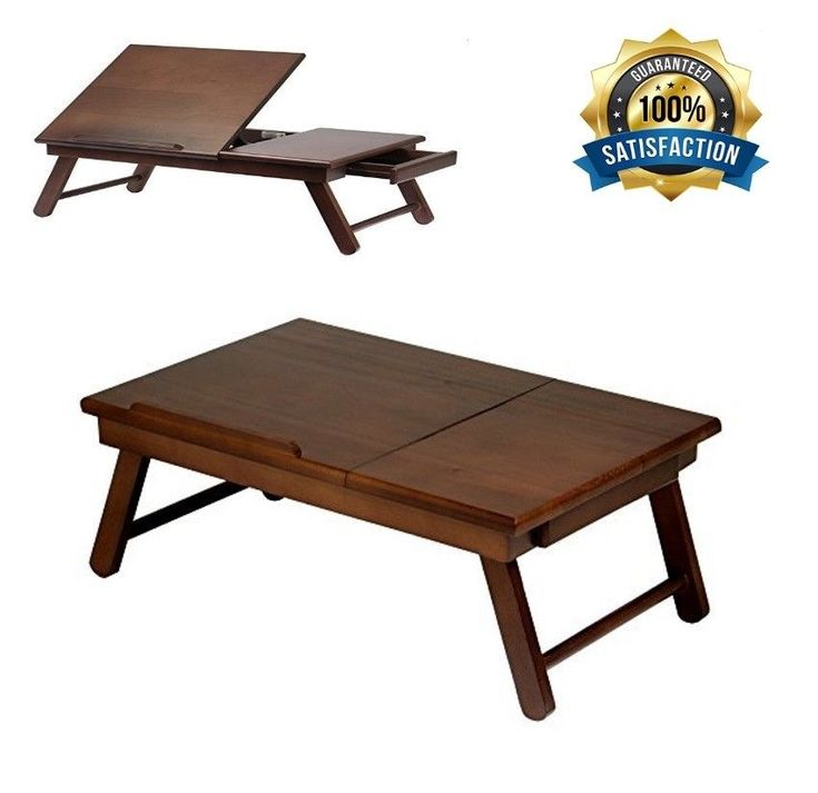 Folding Wood Laptop Table Lap Desk Portable Computer Tray Stand Holder Bed Read #WinsomeWood