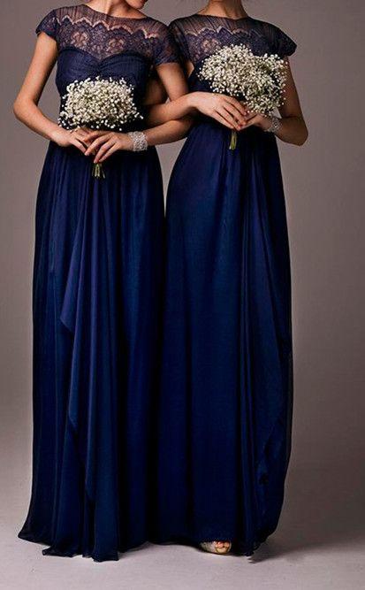 Lace Bridesmaid Dress,Long Bridesmaid Gown,Navy Blue Bridesmaid Gowns,Simple Bridesmaid Dresses,Cheap Bridesmaid Gowns,Vintage Brides Dress,Dark Navy Satin Bridesmaid Gowns