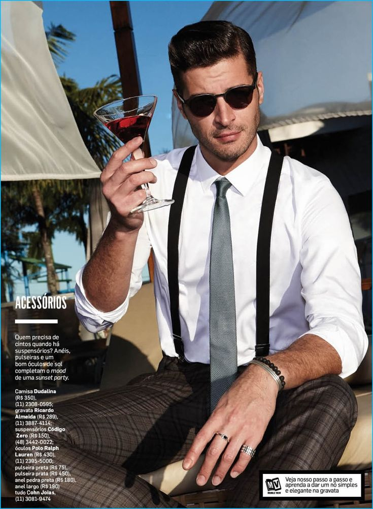Leandro Lima enjoys a cocktail poolside, making a case for suspenders from Codigo Zero.