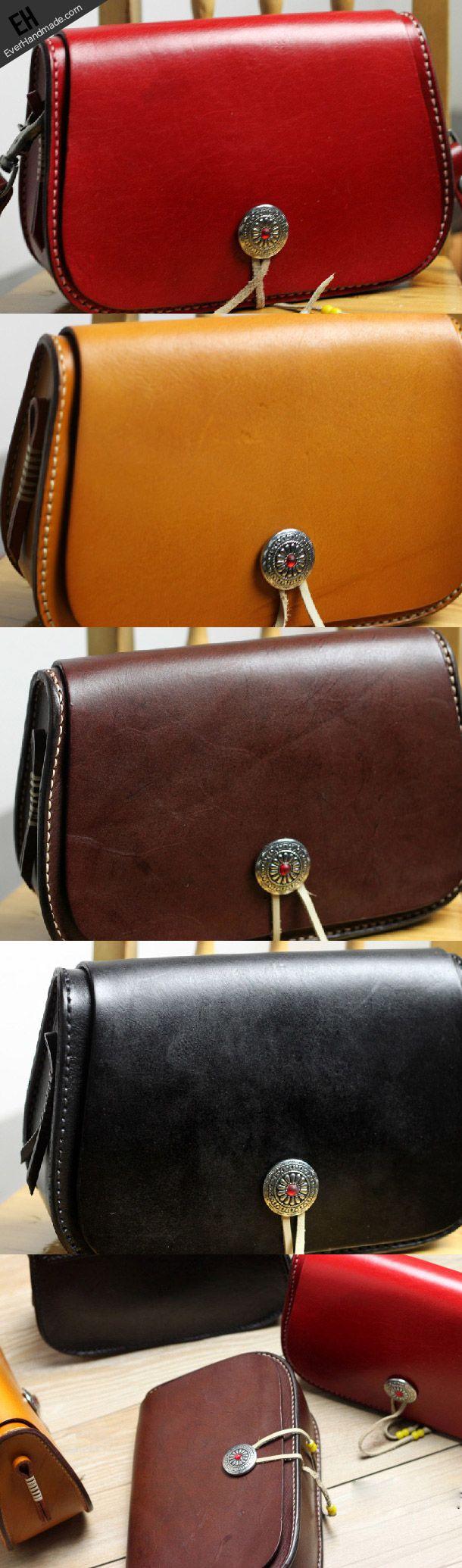Handmade vintage leather brown Satchel crossbody messenger Shoulder Ba | EverHandmade