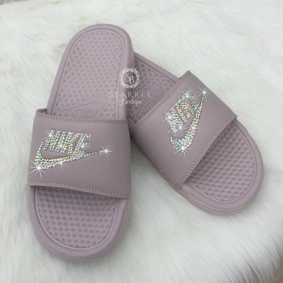 Nike Slides - Swarovski Nike - Crystal Sandals - Bedazzled Nike - Nike  Benassi JDI Slides - All Siz 0f0f4f40c