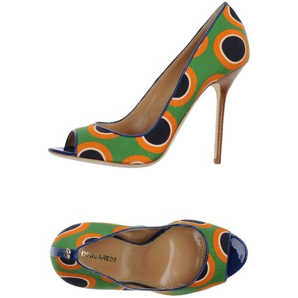 Dsquared2 Pump ($368) ❤ liked on Polyvore featuring shoes, pumps, green, stilettos shoes, green shoes, open toe stilettos, leather sole shoes and green leather pumps