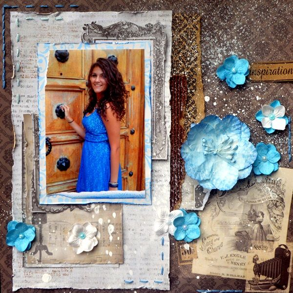 Bellaideascrapology - 7gypsies Harmony Wedding Papers create this mixed scrapbooking layout