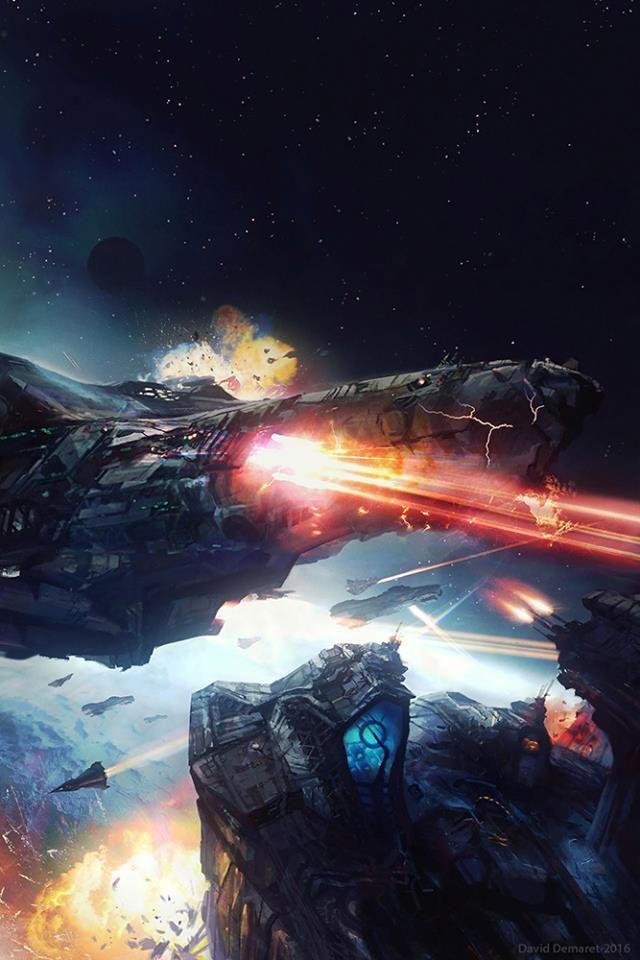 """Orbital Encounter"" by #DavidDemaret. #sciencefiction #scifi #spaceship #spacebattle"