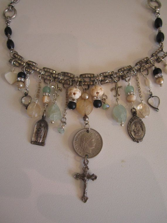 vintage repurposed jewelry assemblage necklace by atelierparis, $150.00