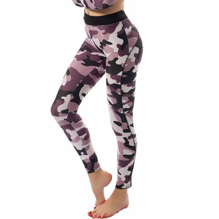 Kaywide 2017 New Camouflage Print Yoga Leggings For Women Sport High Elastic Running Push Up Sport Pants Ladies GYM Tights Capri #Affiliate