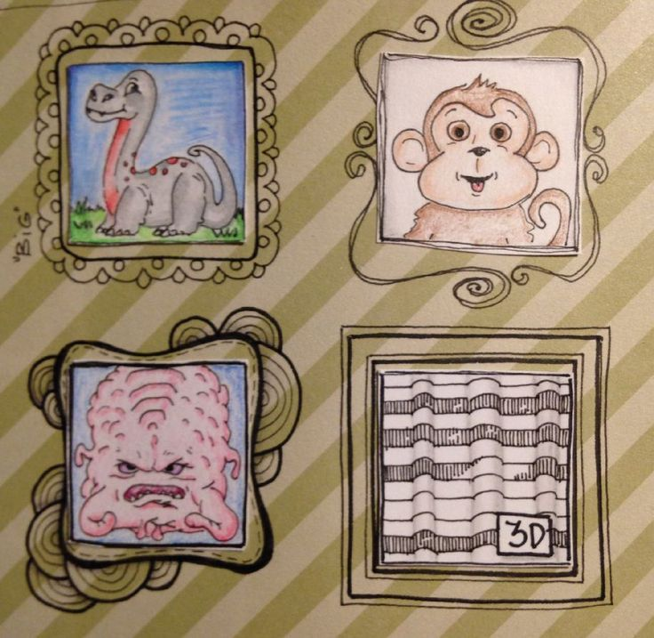 Catching up on the Every Inchie Monday Challenge with inchies Monkey, Brain and 3D (And Big, I already had done!)
