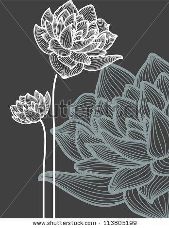 Vector flowers over black background by Danussa, via ShutterStock