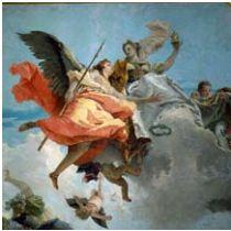 Giambattista Tiepolo, La Nobiltà e la Virtù abbattono la Perfidia, olio su tela. Venezia, Ca' Rezzonico.