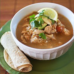 Mexican Chicken and Rice Soup recipe inspired by a local taco shop in San Diego.