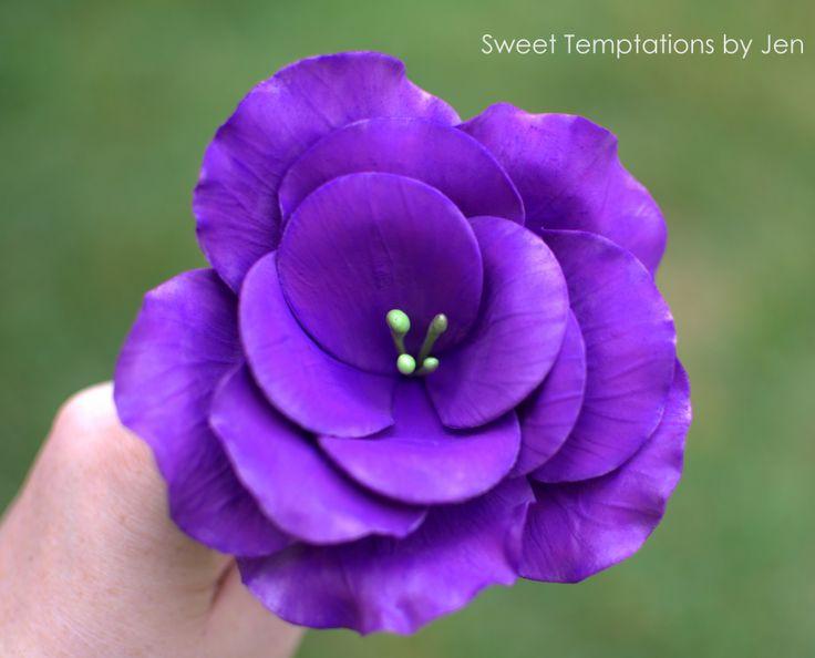 Purple Lisianthus in gumpaste made by Sweet Temptations by Jen.