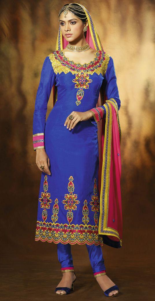 USD 51.63 Blue Art Silk Long Churidar Salwar Kameez 43880