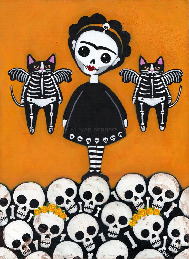 Sugar Skull Frida and Calavera Cats Original Folk Art by KilkennycatArt on Etsy / Day of the Dead / Dia de los Muertos art. Halloween Painting, Halloween Cat, Holidays Halloween, Vintage Halloween, Halloween Decorations, Memento Mori, Voodoo, Frida Art, Sugar Skull Art