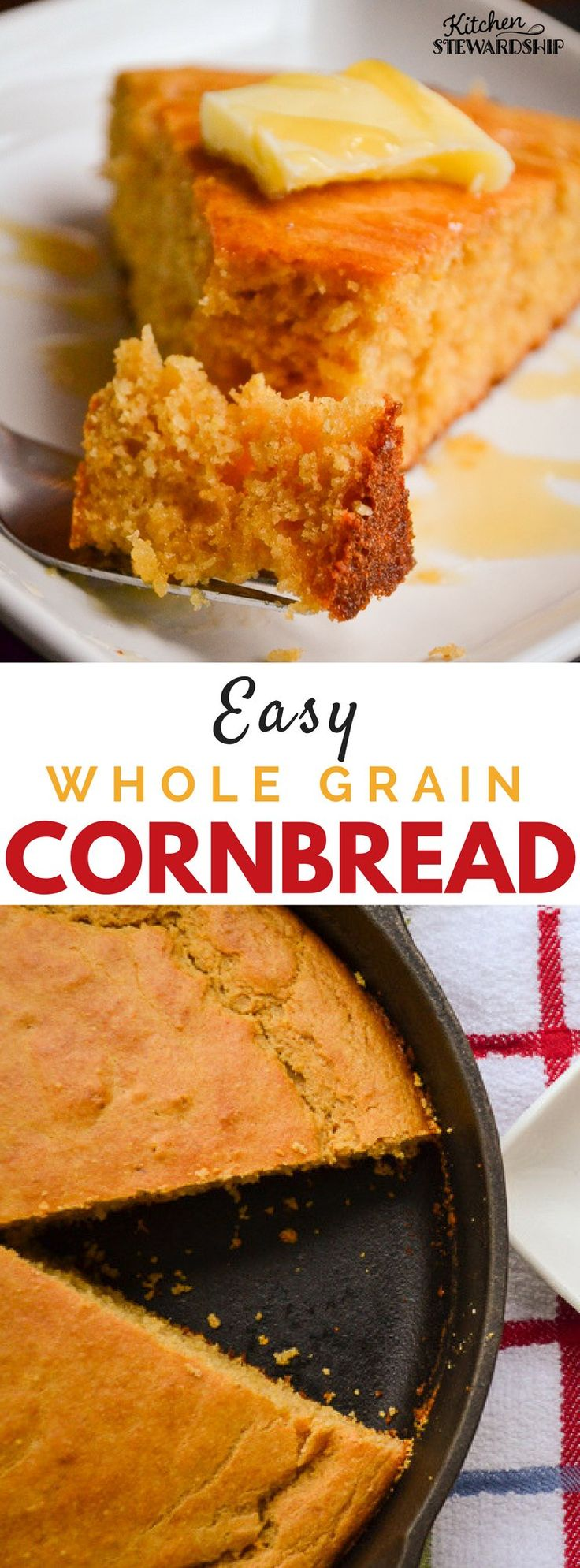 This lightly sweetened whole grain cornbread comes together in minutes and makes the perfect side for your favorite soups and stews.