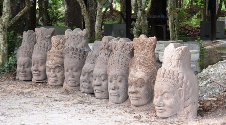 Carved heads at Angkor Wat, Cambodia