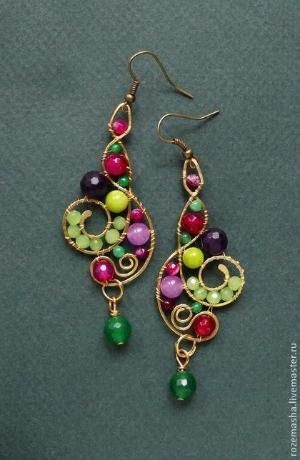 wire and bead earrings by wanting