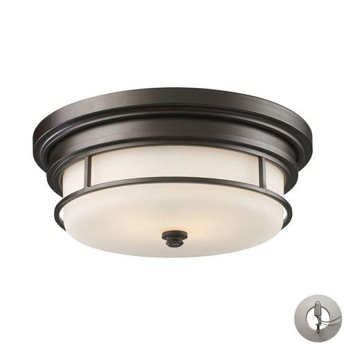 66254-2-LA   Newfield 2 Light Flushmount In Oiled Bronze - Includes Recessed Lighting Kit - 66254-2-LA