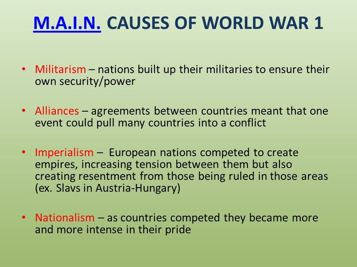 the acronym above lists the main causes of ww1 which were