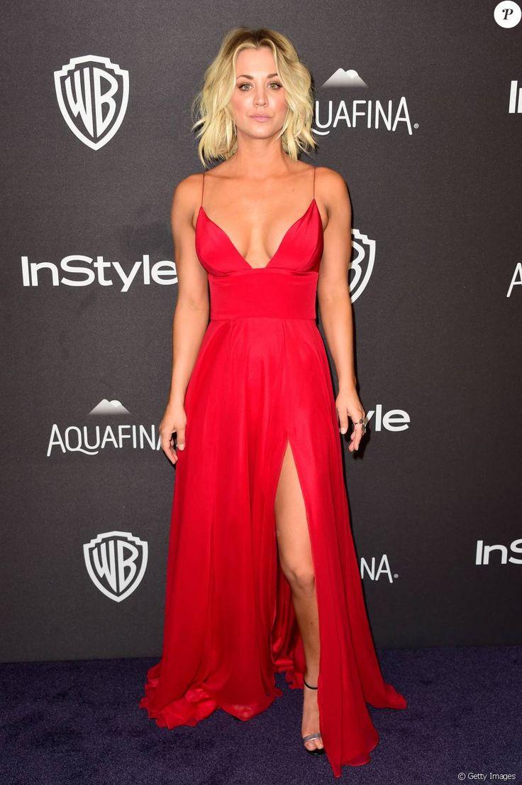Kaley Cuoco apostou em vestido vermelho sexy da grife Christian Siriano para a after party