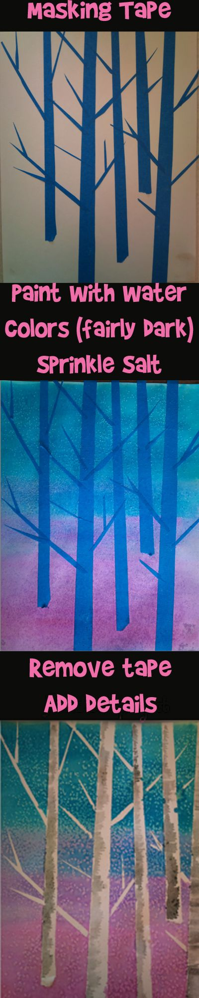 Salt Water Color Project: You only need masking tape, salt, water colors, paper and brushes.  This looks like so much fun!