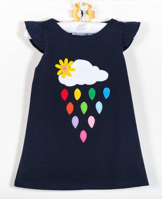 Rainbow Girls Dress, Rainbow Dress, Raindrops Dress, Girls Dress, Girls Dress Rainbow, Applique Dress, Winter Girls Dress, Play Girls Dress