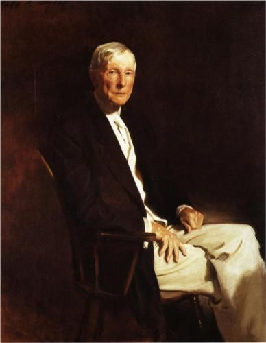 """The first billionaire and one of the """"robber barons"""": John D. Rockefeller by John Singer Sargent, 1917"""