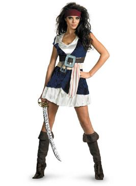 "Just because Jack Sparrow is a male doesn't mean that ladies can't pull off the look as well. This stunning officially licensed Sassy Jack Sparrow costume will make those around you go, ""Jack Who?"""