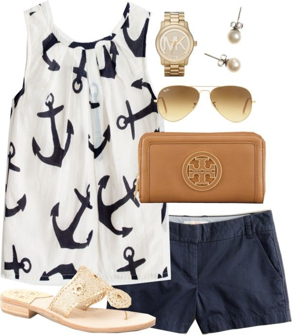 Summer please hurry !!   Anchors & Glitter by classically-preppy featuring stud earrings ❤ liked on PolyvoreJ.Crew chino shorts / Jack Rogers  sandals / Tory Burch wallet / Michael Kors watch / J.Crew stud earrings / Ray-Ban sunglasses / Factory girls' airy tank