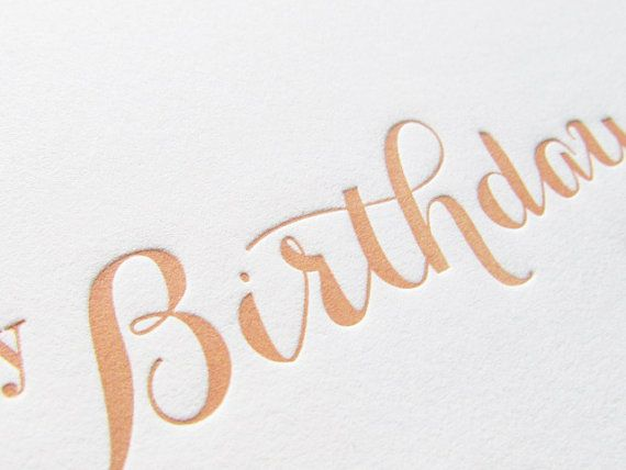 Letterpress Birthday Greeting Card in Peach