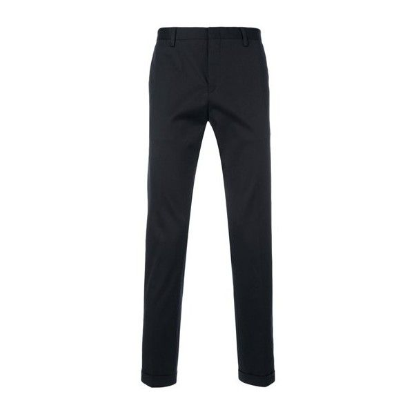 PAUL SMITH Slim Turn-Up Trousers (£210) ❤ liked on Polyvore featuring men's fashion, men's clothing, men's pants, men's casual pants, blue, mens blue pants, mens slim fit pants, mens slim pants and mens elastic waist pants