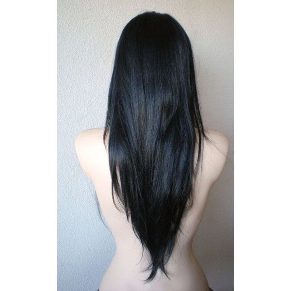 Black wig. Long straight hair Long side bangs wig. Durable Human hair... ❤ liked on Polyvore featuring beauty products, haircare and hair styling tools