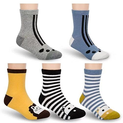 Tycipe Kids boys Fashion Cotton Crew Socks 5 pairs ** Click image to review  more