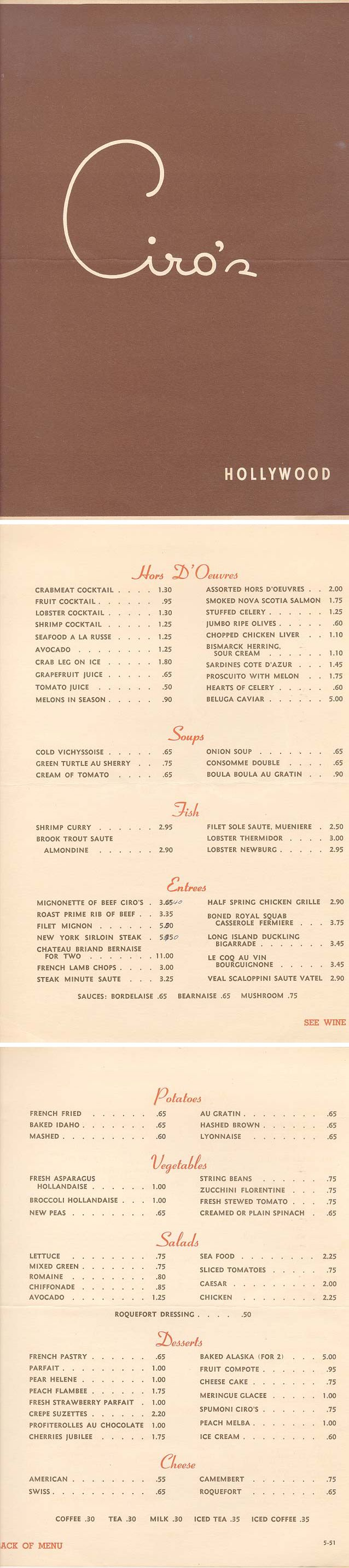 """Ciro's Menu — Ciro's was a nightclub in West Hollywood, California, at 8433 Sunset Boulevard, on the Sunset Strip. It opened in January 1940 and closed its doors in 1957. Ciro's combined an overdone baroque interior and an unadorned exterior and became a famous hangout for movie people. It was one of """"the"""" places to be seen and guaranteed being written about in the gossip columns of Hedda Hopper and Louella Parsons. In the 60s it became a rock & roll club."""