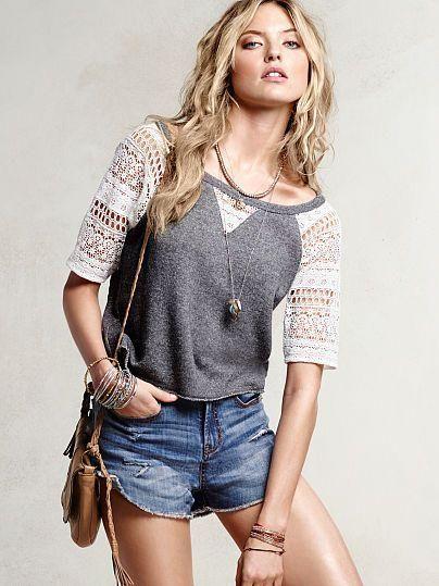 A little sporty, a little sweet. // Victoria's Secret Crochet Baseball Sweatshirt