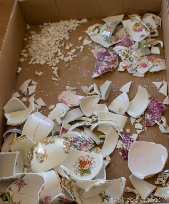 From Oops to Ahhh! | Over The Big Moon. Broken china into garden stones so you don't have to throw away those sentimental dishes that accidentally got broken.