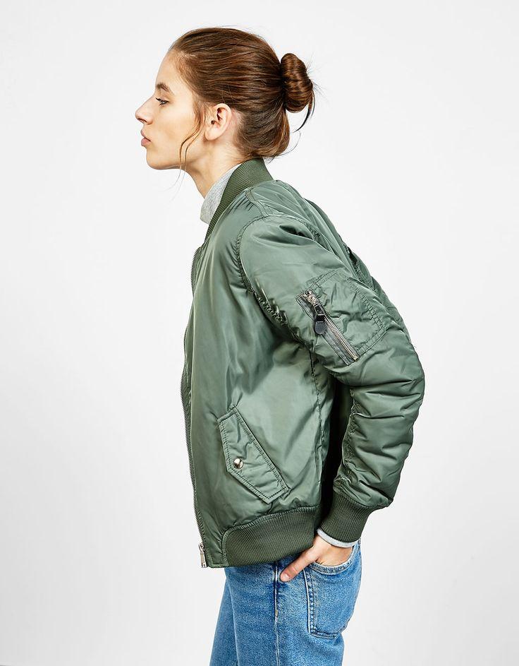 Nylon bomber jacket - Coats and Jackets - Bershka Switzerland