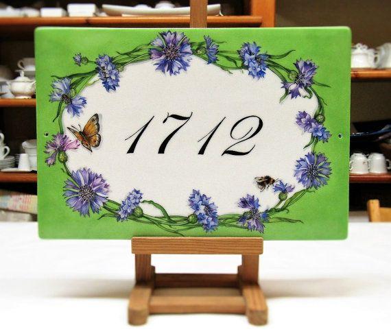 Cornflowers personalized house sign Hand by LaTavolozzaShop