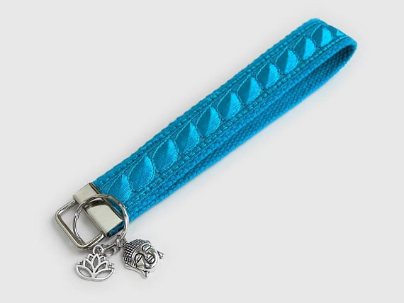 Christmas Gift for Her – Turquoise Keychain Wristlet – Coworker Gift – Yoga Lanyard – Teal Key Holder – Wrist Lanyard – Housewarming Gift – #keychain #turquoise #teal #aqua #lanyard #yoga #gift