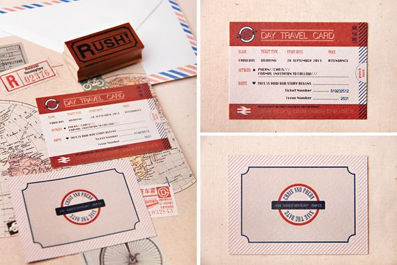 Chrystalace Wedding Stationery Travel Mind the Gap ticket Save the date.