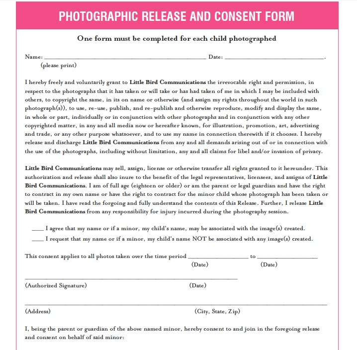 7 best photo release forms images on Pinterest Photo tips - photography consent form