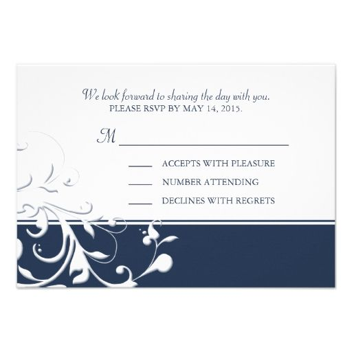 Navy Blue Wedding Reply Cards with Flourishes RSVP Custom Invites