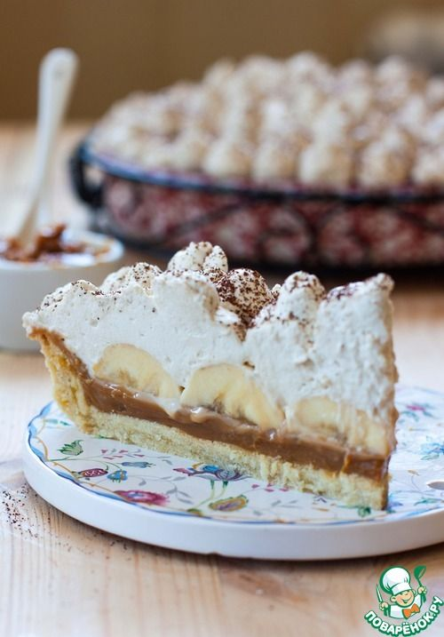 Banoffee pie: conference milk, bananas, and coffee flavor