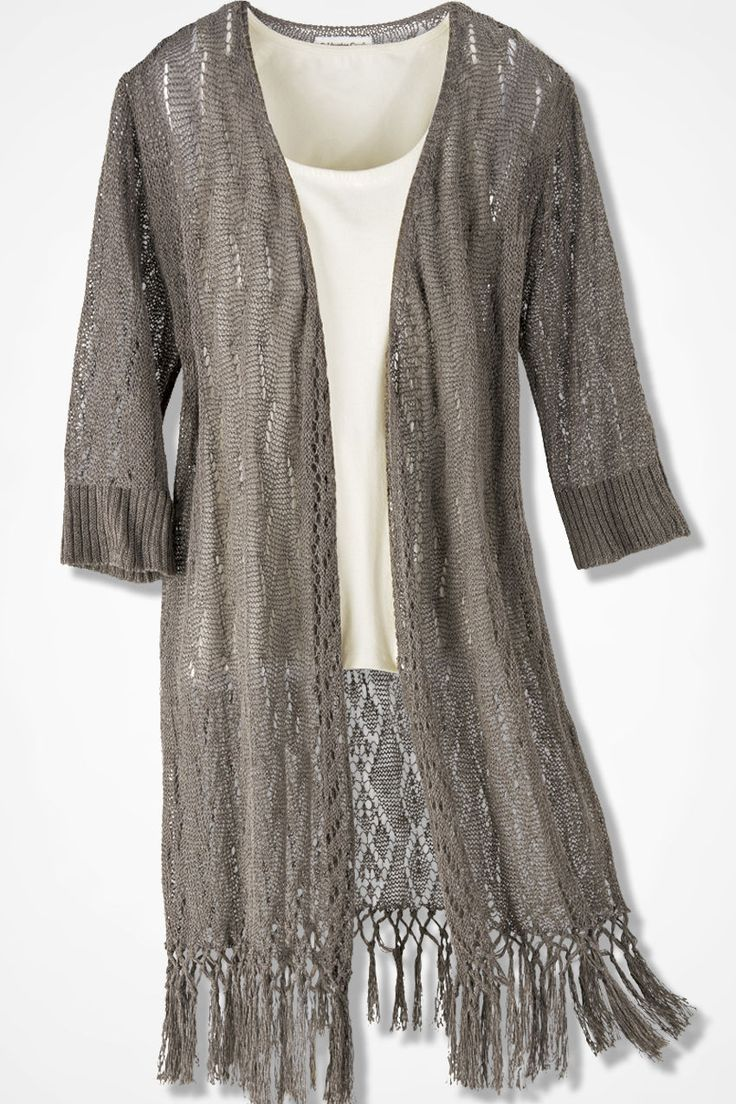 Fringed Duster Sweater - Coldwater Creek