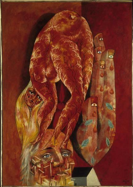 Pellan, Alfred,  L'amour fou (Hommage à André Breton),  1954,  Huile sur toile,  115,5 x 80 cm