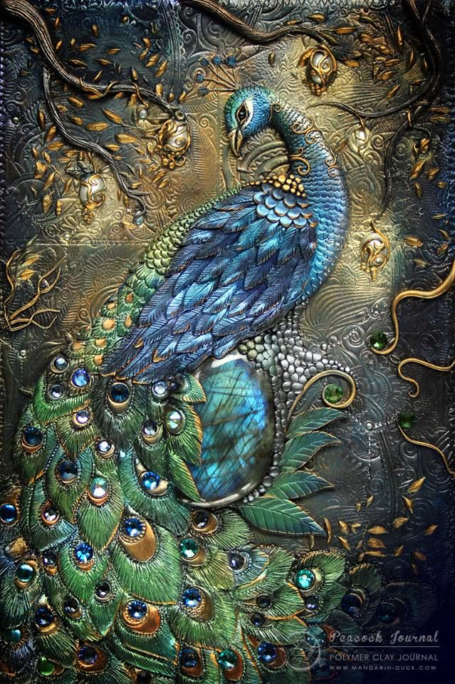 Beautiful Polymer Clay Peacock Journal Cover by Aniko Kolesnikova